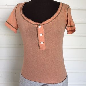 Free People Pastel Orange Henley Tee Shirt